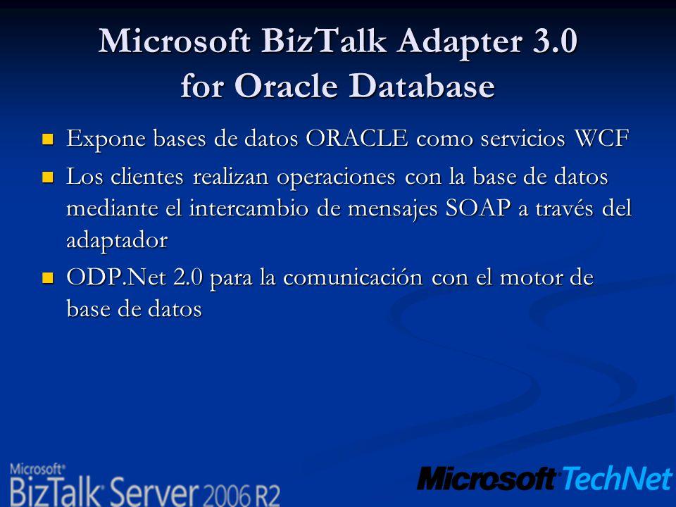 Microsoft BizTalk Adapter 3.0 for Oracle Database Expone bases de datos ORACLE como servicios WCF Expone bases de datos ORACLE como servicios WCF Los
