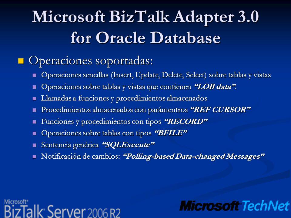 Microsoft BizTalk Adapter 3.0 for Oracle Database Operaciones soportadas: Operaciones soportadas: Operaciones sencillas (Insert, Update, Delete, Selec