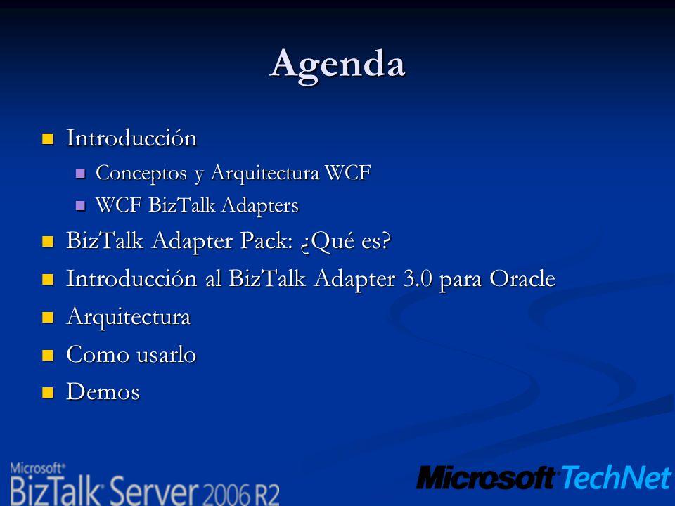 Agenda Introducción Introducción Conceptos y Arquitectura WCF Conceptos y Arquitectura WCF WCF BizTalk Adapters WCF BizTalk Adapters BizTalk Adapter P