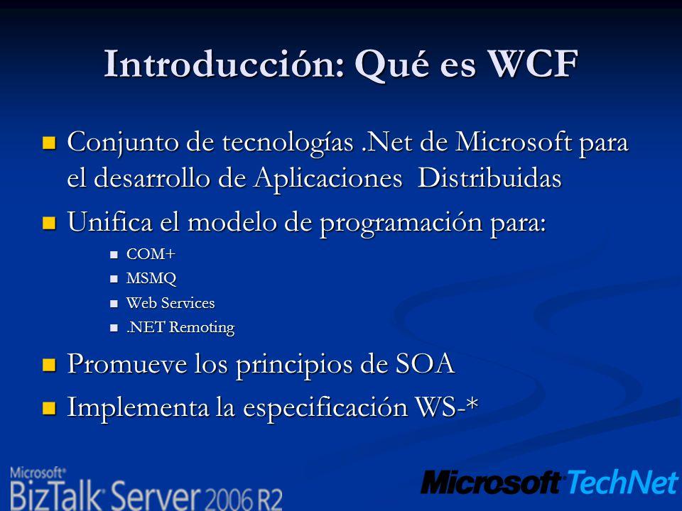 Introducción: Qué es WCF Conjunto de tecnologías.Net de Microsoft para el desarrollo de Aplicaciones Distribuidas Conjunto de tecnologías.Net de Micro