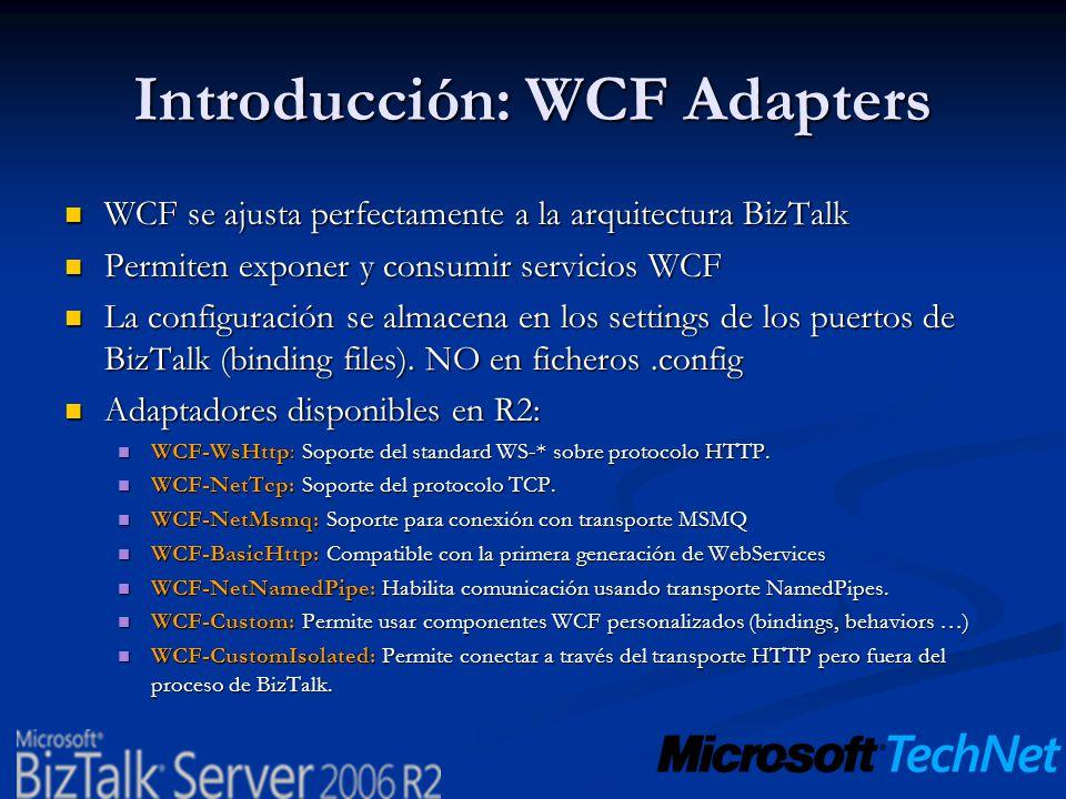 Introducción: WCF Adapters WCF se ajusta perfectamente a la arquitectura BizTalk WCF se ajusta perfectamente a la arquitectura BizTalk Permiten expone