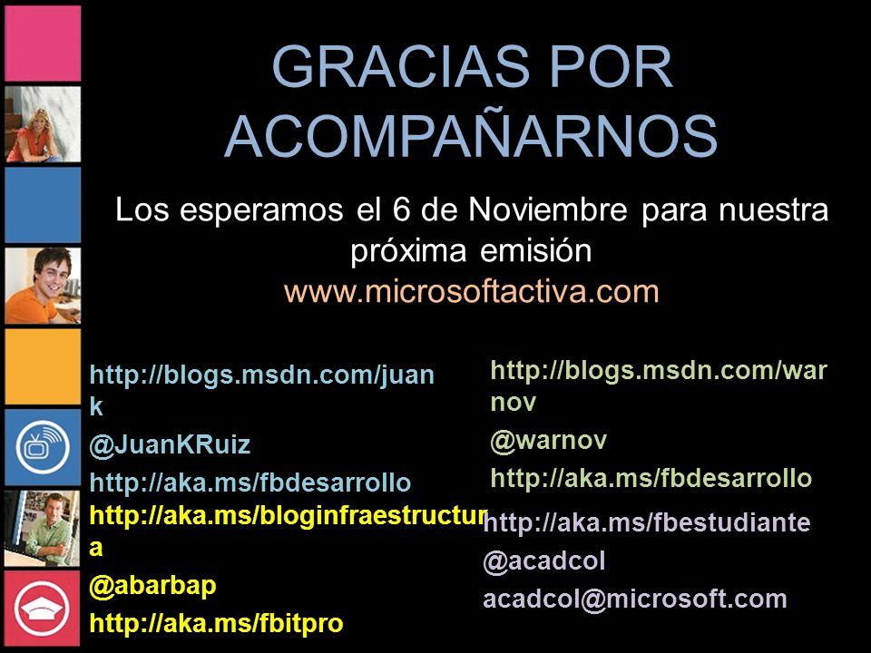GRACIAS POR ACOMPAÑARNOS http://blogs.msdn.com/war nov @warnov http://aka.ms/fbdesarrollo http://aka.ms/bloginfraestructur a @abarbap http://aka.ms/fbitpro Los esperamos el 6 de Noviembre para nuestra próxima emisión www.microsoftactiva.com http://aka.ms/fbestudiante @acadcol acadcol@microsoft.com http://blogs.msdn.com/juan k @JuanKRuiz http://aka.ms/fbdesarrollo
