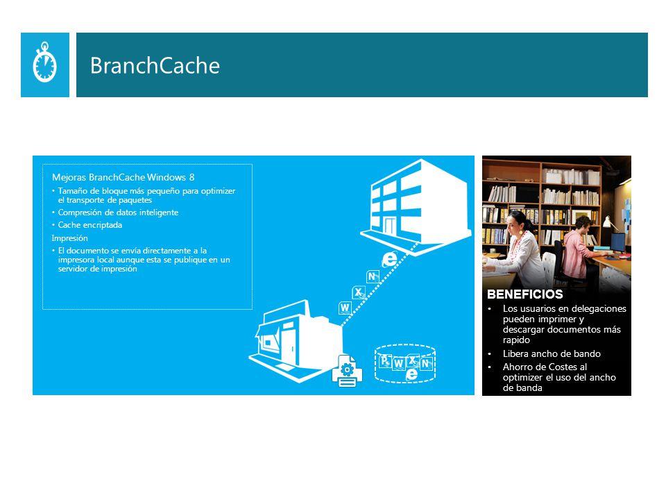Mejoras BranchCache Windows 8 Tamaño de bloque más pequeño para optimizer el transporte de paquetes Compresión de datos inteligente Cache encriptada Impresión El documento se envía directamente a la impresora local aunque esta se publique en un servidor de impresión BENEFICIOS Los usuarios en delegaciones pueden imprimer y descargar documentos más rapido Libera ancho de bando Ahorro de Costes al optimizer el uso del ancho de banda BranchCache