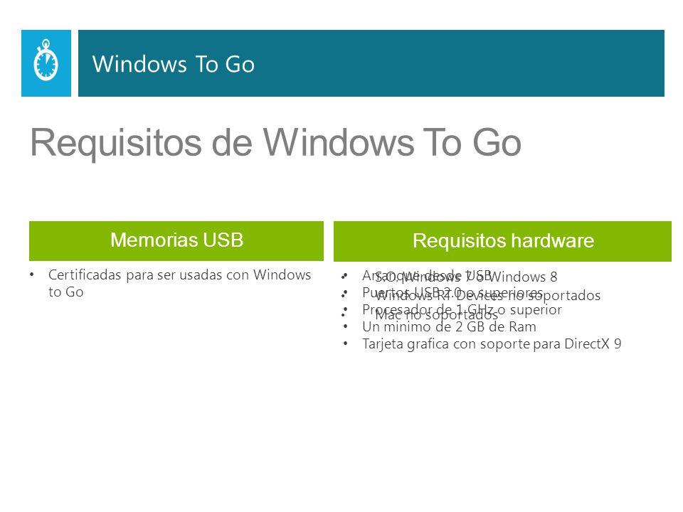 Requisitos de Windows To Go Memorias USB host PCs S.O.