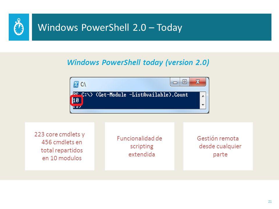 21 Windows PowerShell 2.0 – Today Windows PowerShell today (version 2.0) Funcionalidad de scripting extendida Gestión remota desde cualquier parte 223 core cmdlets y 456 cmdlets en total repartidos en 10 modulos