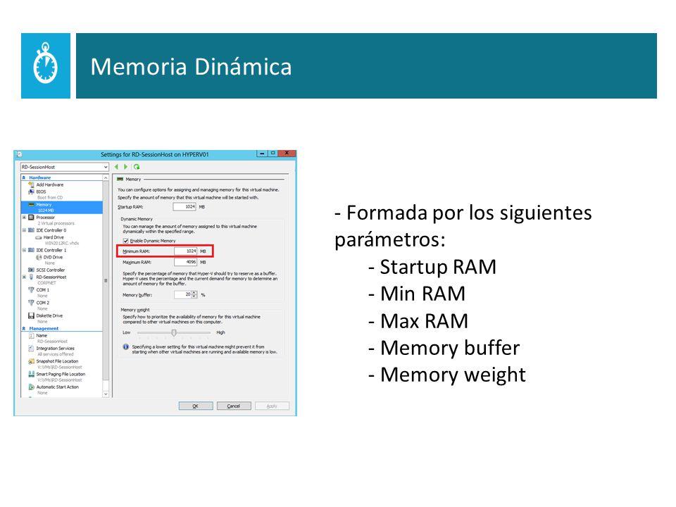 Memoria Dinámica - Formada por los siguientes parámetros: - Startup RAM - Min RAM - Max RAM - Memory buffer - Memory weight