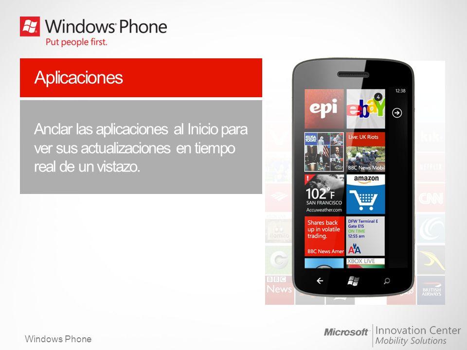 Windows Phone Internet mas allá del browser Una rápida y bella experiencia web con IE9 y aceleración por Hardware.