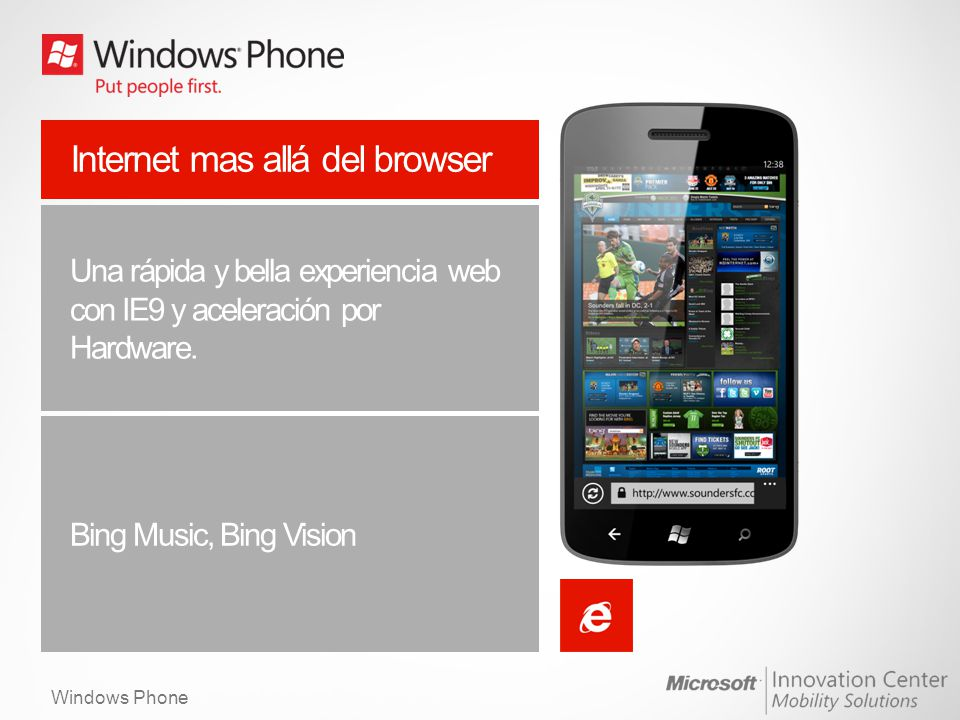 Windows Phone Internet mas allá del browser Una rápida y bella experiencia web con IE9 y aceleración por Hardware.