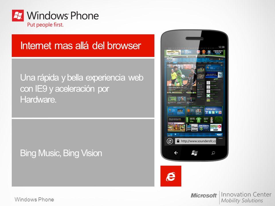 Windows Phone Internet mas allá del browser Una rápida y bella experiencia web con IE9 y aceleración por Hardware. Bing Music, Bing Vision