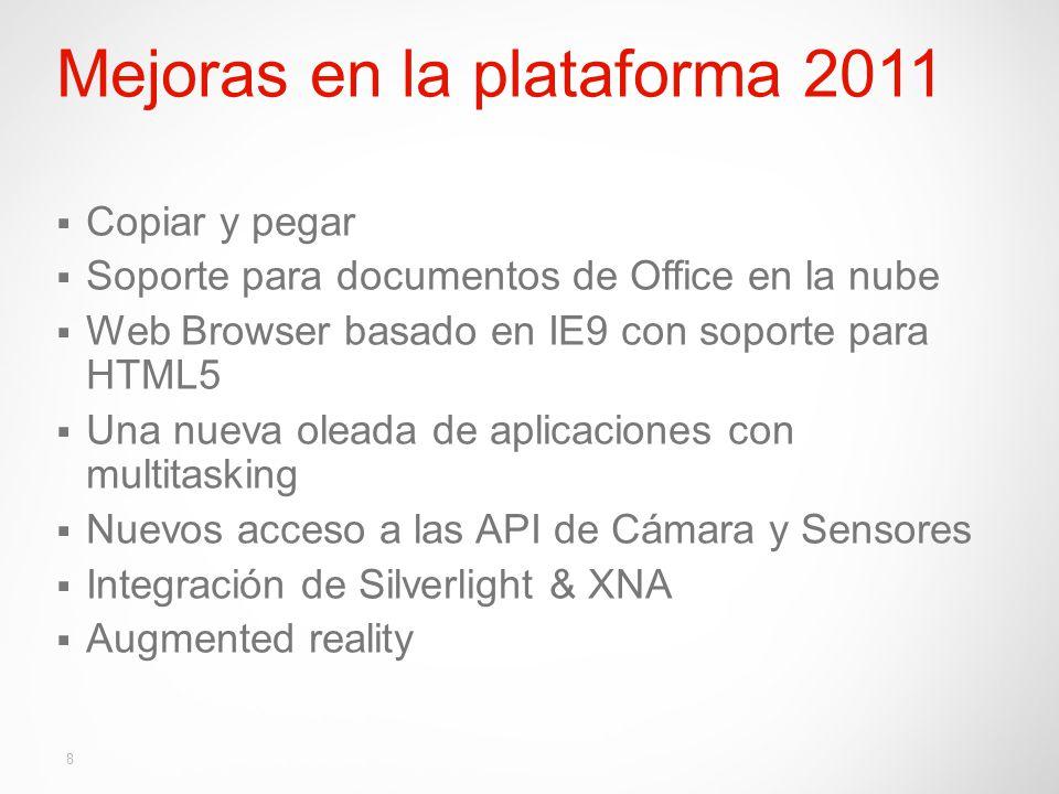 Mejoras en la plataforma 2011 Copiar y pegar Soporte para documentos de Office en la nube Web Browser basado en IE9 con soporte para HTML5 Una nueva oleada de aplicaciones con multitasking Nuevos acceso a las API de Cámara y Sensores Integración de Silverlight & XNA Augmented reality 8