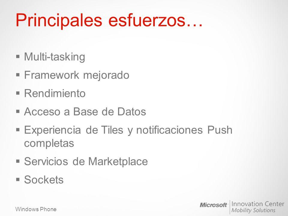 Windows Phone Principales esfuerzos… Multi-tasking Framework mejorado Rendimiento Acceso a Base de Datos Experiencia de Tiles y notificaciones Push completas Servicios de Marketplace Sockets