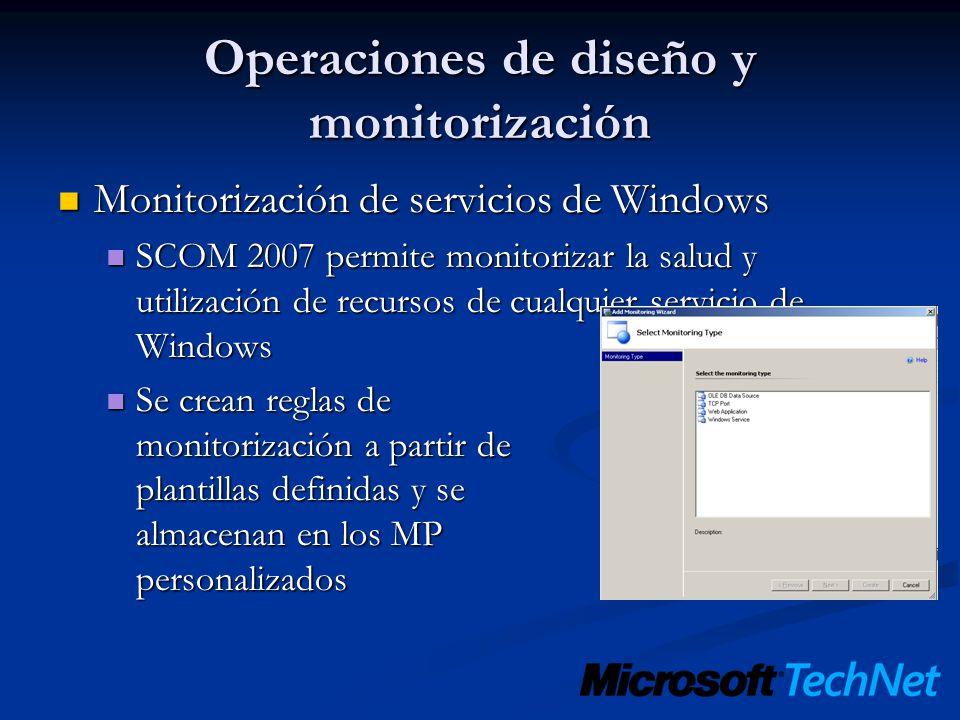 Operaciones de diseño y monitorización Monitorización de servicios de Windows Monitorización de servicios de Windows SCOM 2007 permite monitorizar la