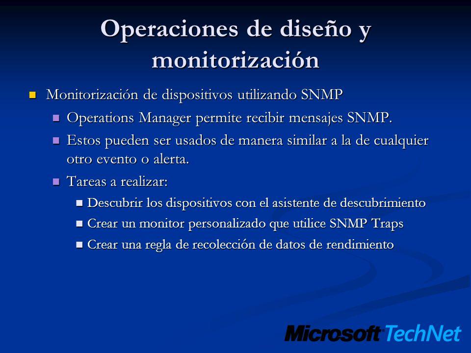 Operaciones de diseño y monitorización Monitorización de dispositivos utilizando SNMP Monitorización de dispositivos utilizando SNMP Operations Manage