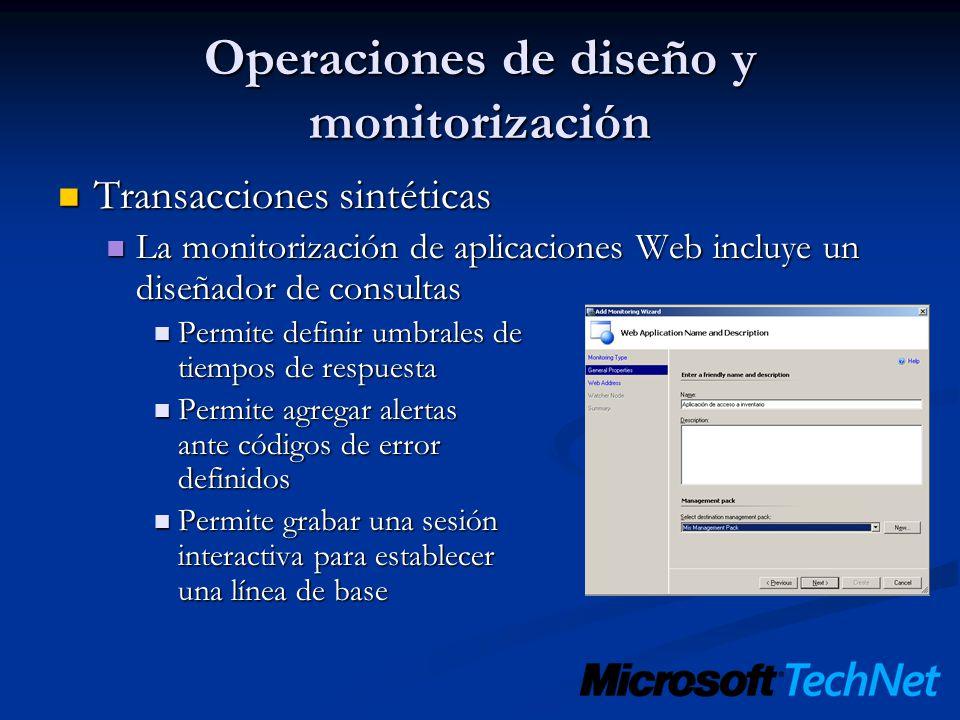 Operaciones de diseño y monitorización Transacciones sintéticas Transacciones sintéticas La monitorización de aplicaciones Web incluye un diseñador de