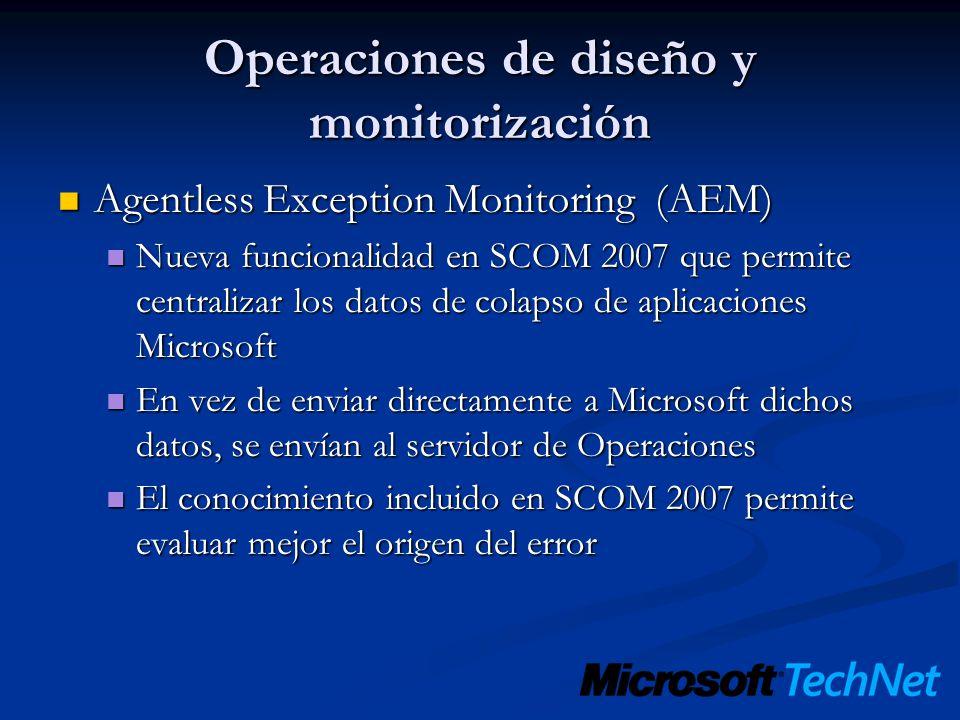 Operaciones de diseño y monitorización Agentless Exception Monitoring (AEM) Agentless Exception Monitoring (AEM) Nueva funcionalidad en SCOM 2007 que