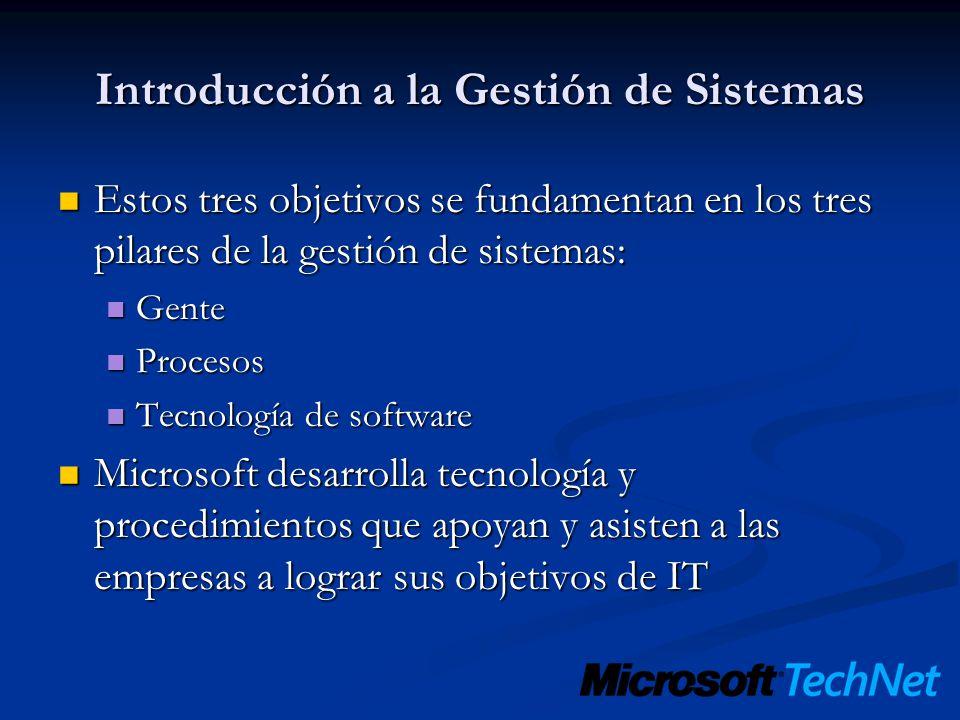 Introducción a la Gestión de Sistemas Estos tres objetivos se fundamentan en los tres pilares de la gestión de sistemas: Estos tres objetivos se funda