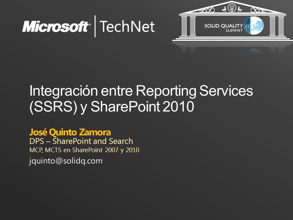 Objetivos de la sesión Integración entre SSRS 2008 R2 y SharePoint 2010