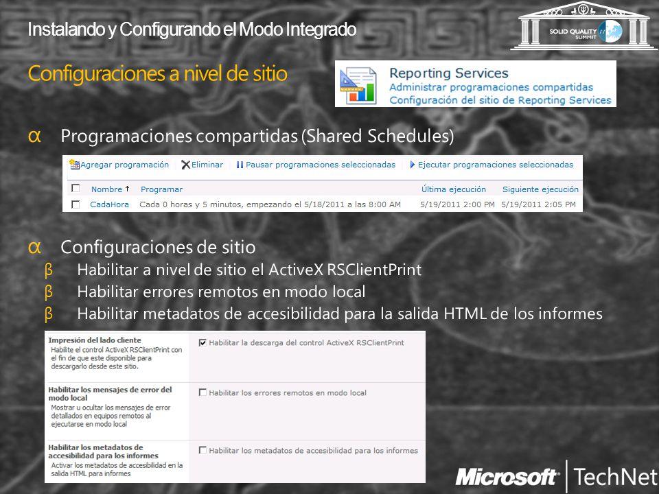 Configuraciones a nivel de sitio Instalando y Configurando el Modo Integrado