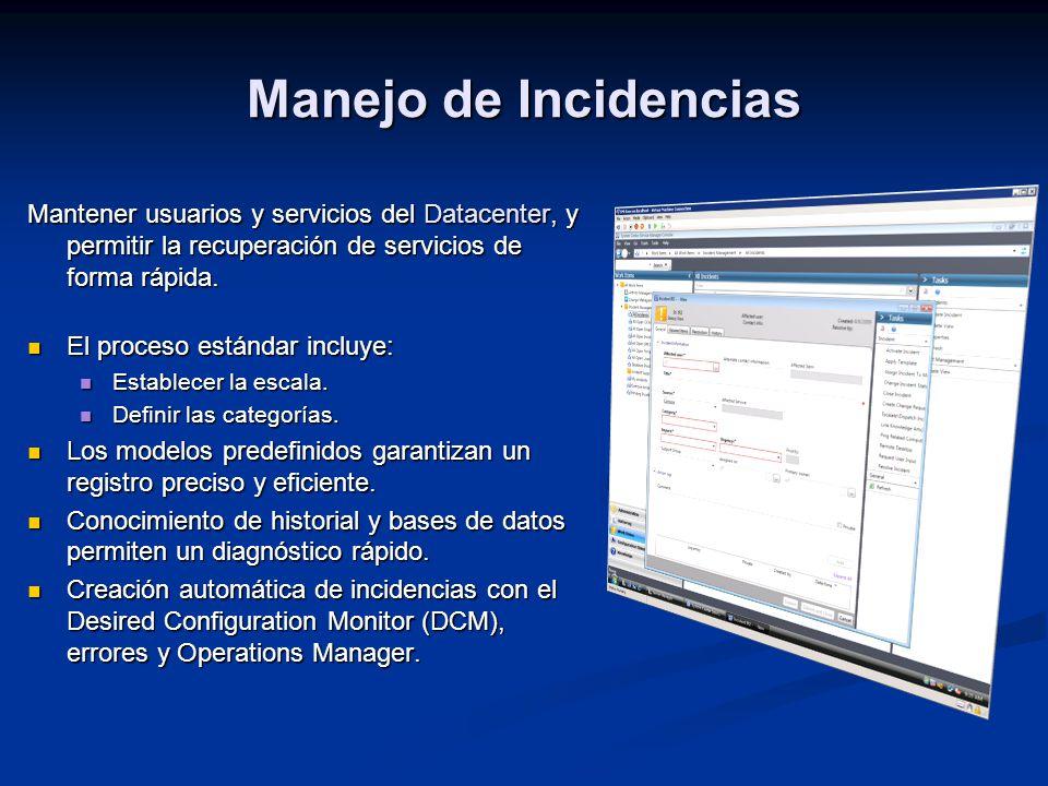 Manejo de Incidencias Mantener usuarios y servicios del Datacenter, y permitir la recuperación de servicios de forma rápida. El proceso estándar inclu