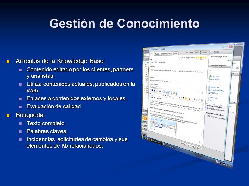 Gestión de Conocimiento Artículos de la Knowledge Base: Artículos de la Knowledge Base: Contenido editado por los clientes, partners y analistas. Cont