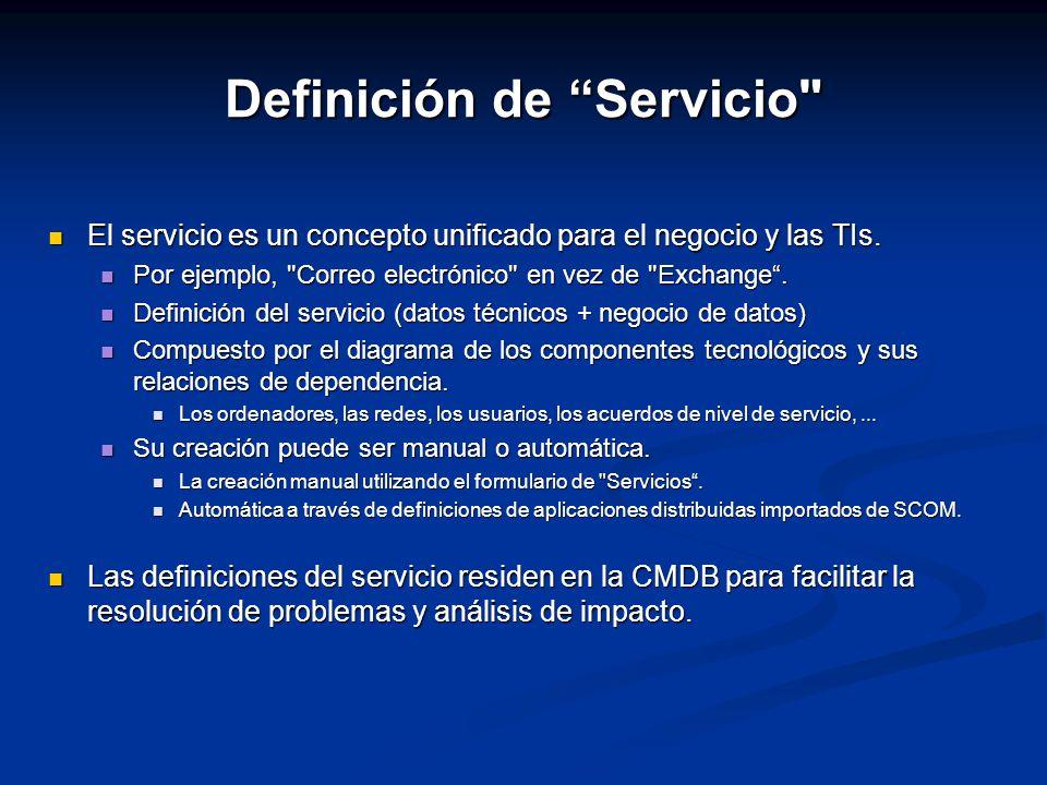 Definición de Servicio El servicio es un concepto unificado para el negocio y las TIs.
