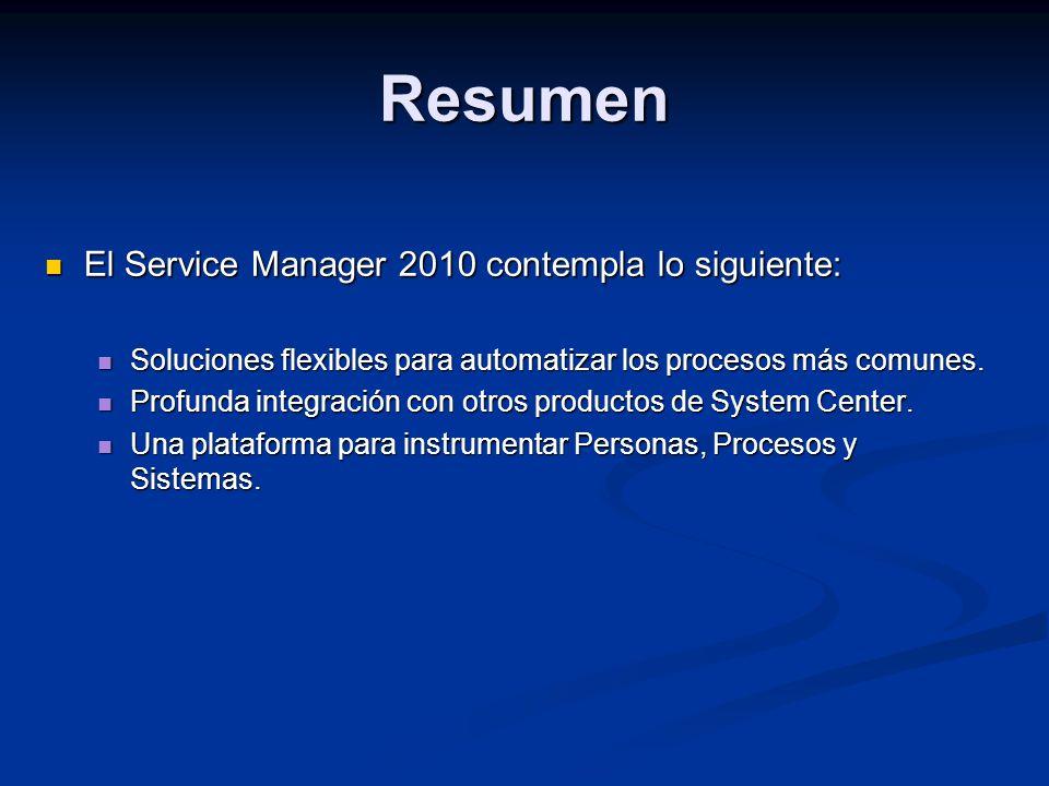 Resumen El Service Manager 2010 contempla lo siguiente: El Service Manager 2010 contempla lo siguiente: Soluciones flexibles para automatizar los procesos más comunes.
