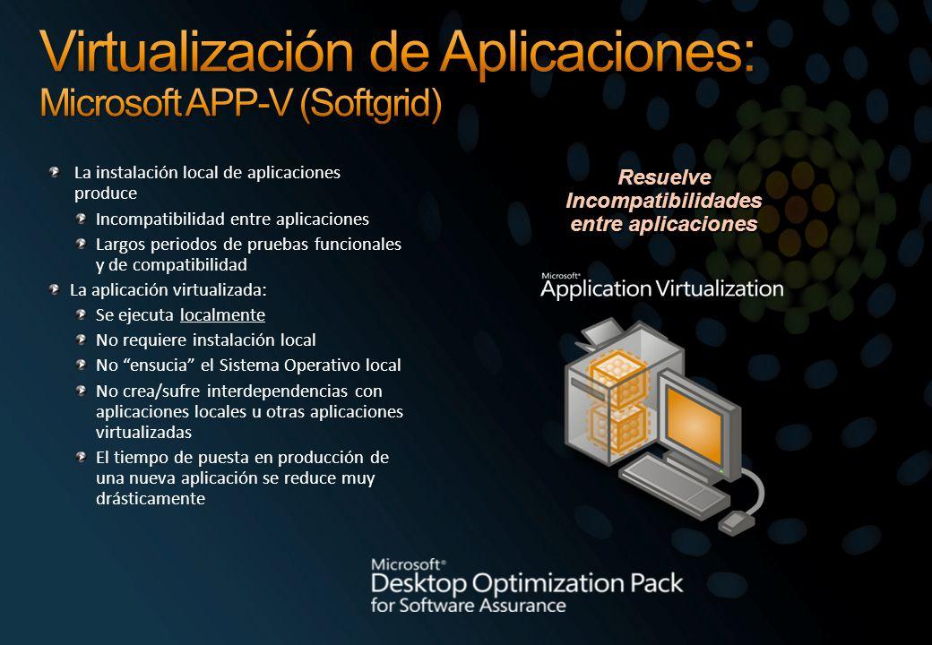 La instalación local de aplicaciones produce Incompatibilidad entre aplicaciones Largos periodos de pruebas funcionales y de compatibilidad La aplicac