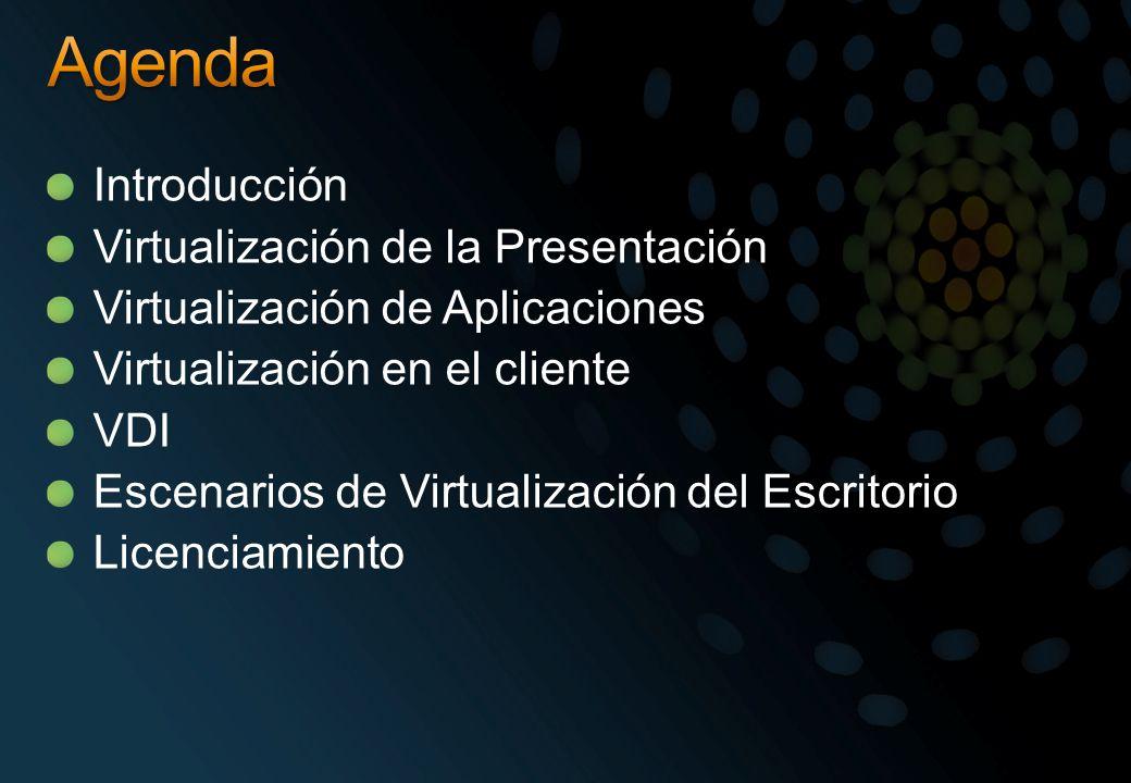Introducción Virtualización de la Presentación Virtualización de Aplicaciones Virtualización en el cliente VDI Escenarios de Virtualización del Escrit