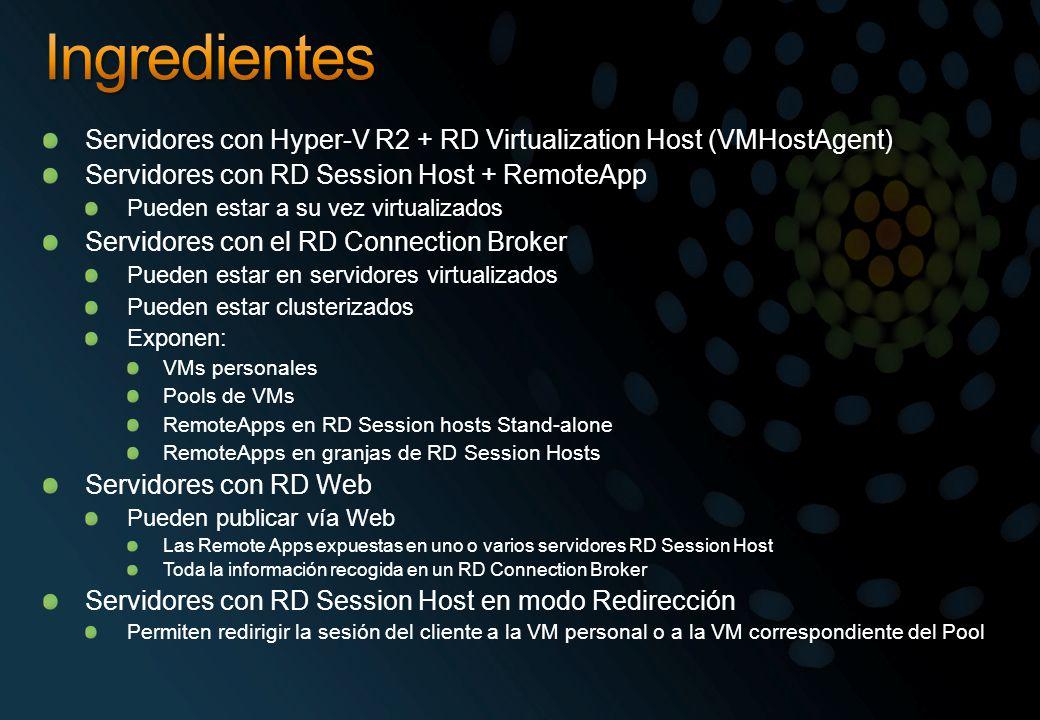 Servidores con Hyper-V R2 + RD Virtualization Host (VMHostAgent) Servidores con RD Session Host + RemoteApp Pueden estar a su vez virtualizados Servid