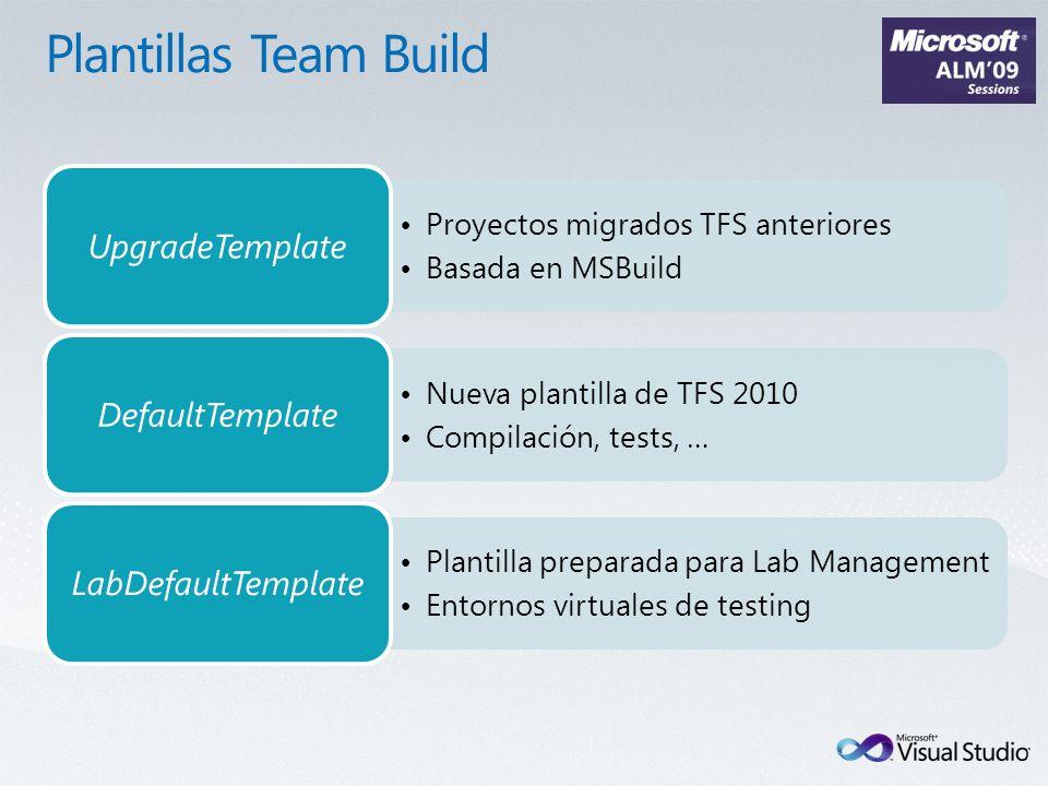 Proyectos migrados TFS anteriores Basada en MSBuild UpgradeTemplate Nueva plantilla de TFS 2010 Compilación, tests, … DefaultTemplate Plantilla preparada para Lab Management Entornos virtuales de testing LabDefaultTemplate