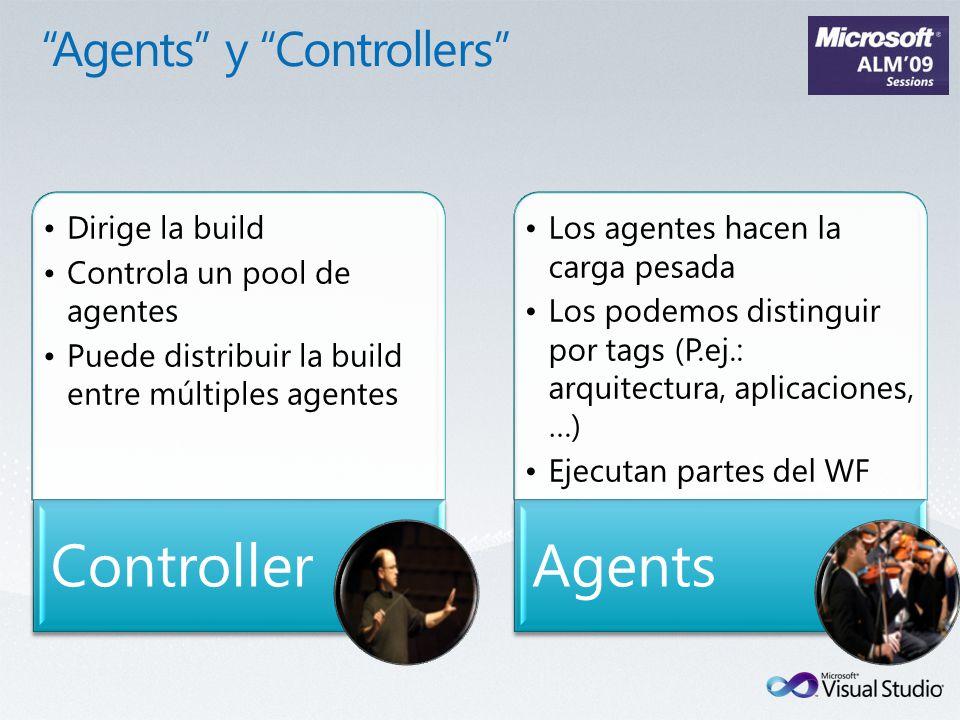 Dirige la build Controla un pool de agentes Puede distribuir la build entre múltiples agentes Controller Los agentes hacen la carga pesada Los podemos distinguir por tags (P.ej.: arquitectura, aplicaciones, …) Ejecutan partes del WF Agents