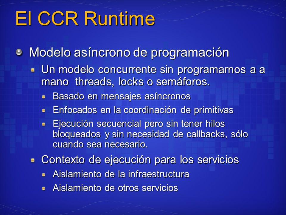 El CCR Runtime Modelo asíncrono de programación Un modelo concurrente sin programarnos a a mano threads, locks o semáforos. Basado en mensajes asíncro