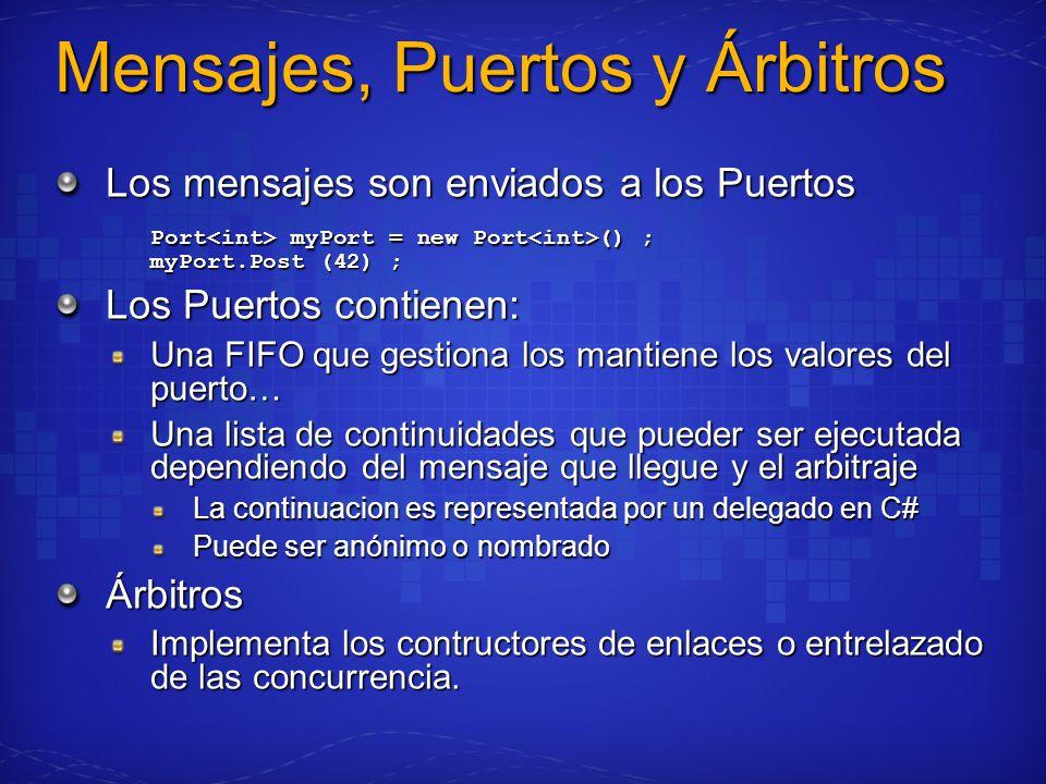 Mensajes, Puertos y Árbitros Los mensajes son enviados a los Puertos Port myPort = new Port () ; myPort.Post (42) ; Los Puertos contienen: Una FIFO que gestiona los mantiene los valores del puerto… Una lista de continuidades que pueder ser ejecutada dependiendo del mensaje que llegue y el arbitraje La continuacion es representada por un delegado en C# Puede ser anónimo o nombrado Árbitros Implementa los contructores de enlaces o entrelazado de las concurrencia.