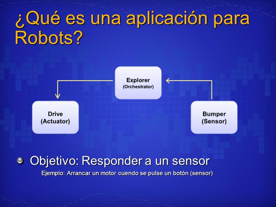 ¿Qué es una aplicación para Robots? Objetivo: Responder a un sensor Ejemplo: Arrancar un motor cuendo se pulse un botón (sensor)