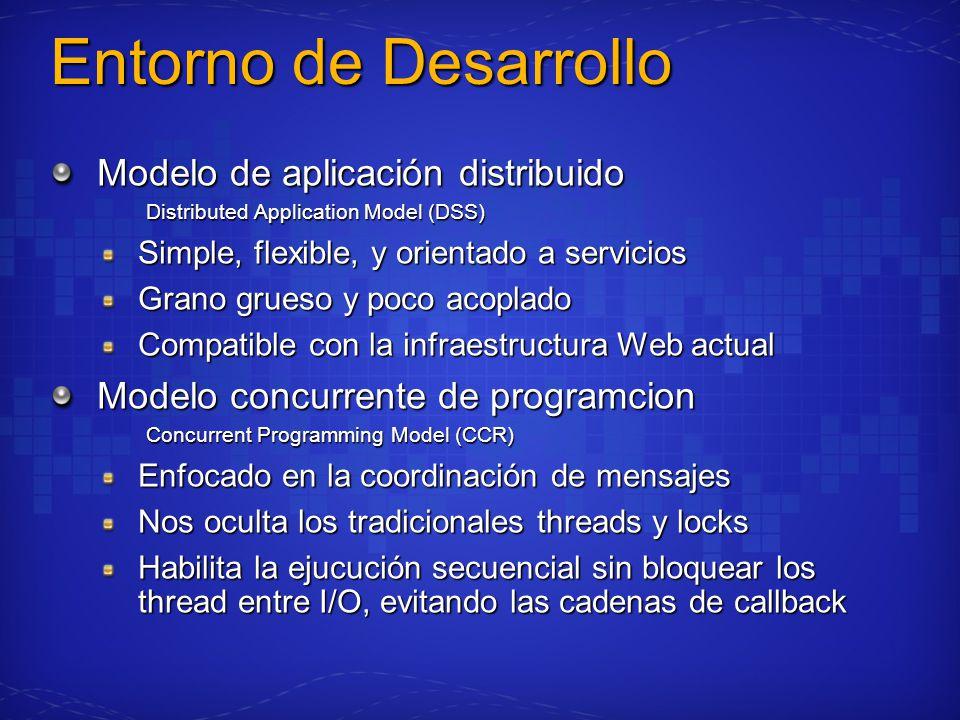 Entorno de Desarrollo Modelo de aplicación distribuido Distributed Application Model (DSS) Simple, flexible, y orientado a servicios Grano grueso y po