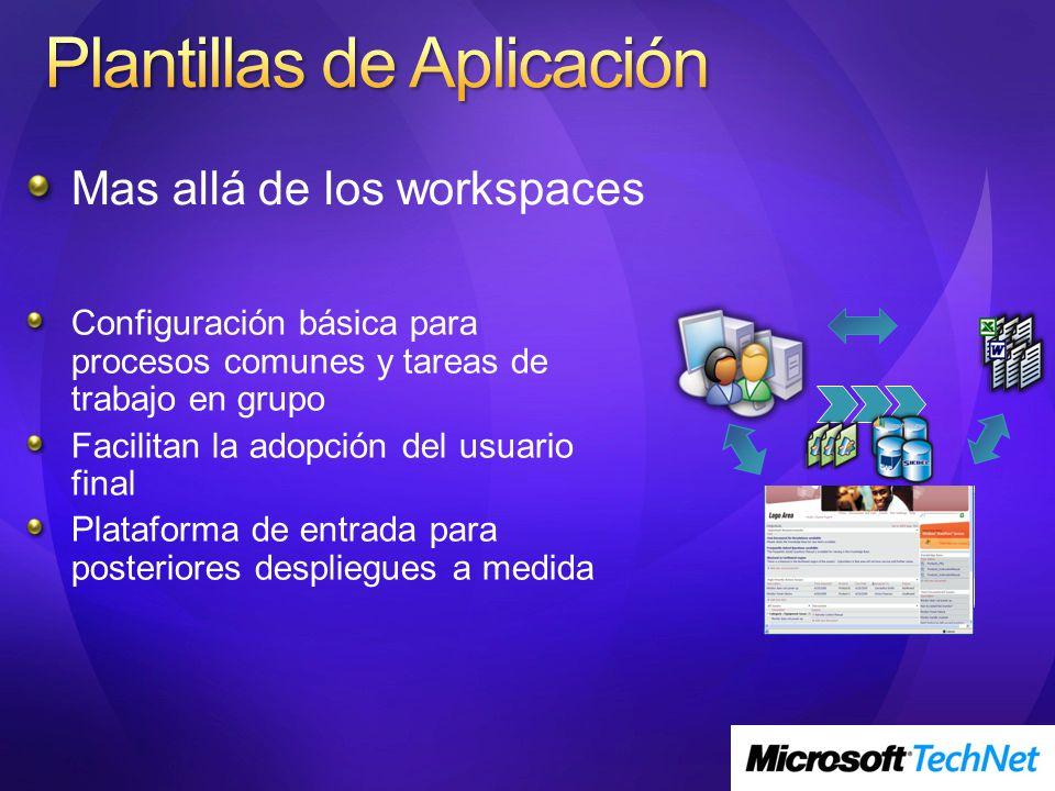 Mas allá de los workspaces Configuración básica para procesos comunes y tareas de trabajo en grupo Facilitan la adopción del usuario final Plataforma de entrada para posteriores despliegues a medida