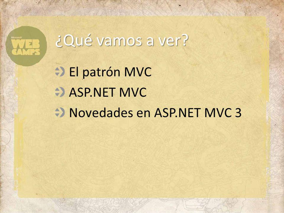 ¿Qué vamos a ver El patrón MVC ASP.NET MVC Novedades en ASP.NET MVC 3