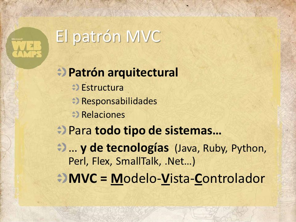 Patrón arquitectural Estructura Responsabilidades Relaciones Para todo tipo de sistemas… … y de tecnologías (Java, Ruby, Python, Perl, Flex, SmallTalk,.Net…) MVC = Modelo-Vista-Controlador El patrón MVC