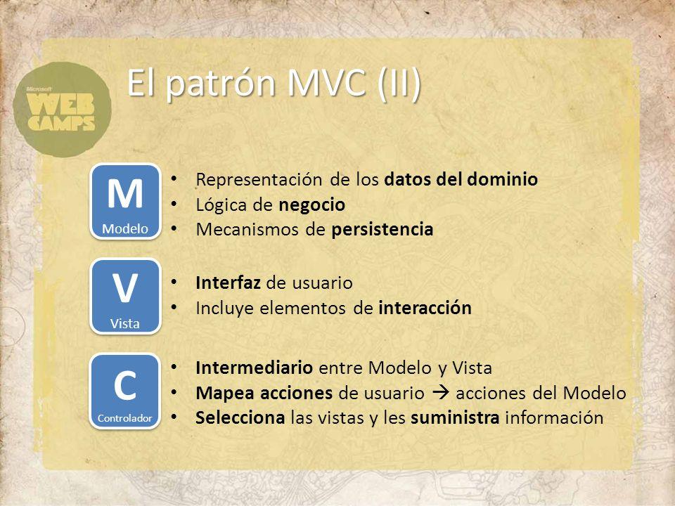 El patrón MVC (II) M Modelo M Modelo Representación de los datos del dominio Lógica de negocio Mecanismos de persistencia V Vista V Vista Interfaz de usuario Incluye elementos de interacción C Controlador C Controlador Intermediario entre Modelo y Vista Mapea acciones de usuario acciones del Modelo Selecciona las vistas y les suministra información