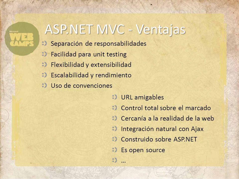 ASP.NET MVC - Ventajas URL amigables Control total sobre el marcado Cercanía a la realidad de la web Integración natural con Ajax Construido sobre ASP.NET Es open source … Separación de responsabilidades Facilidad para unit testing Flexibilidad y extensibilidad Escalabilidad y rendimiento Uso de convenciones