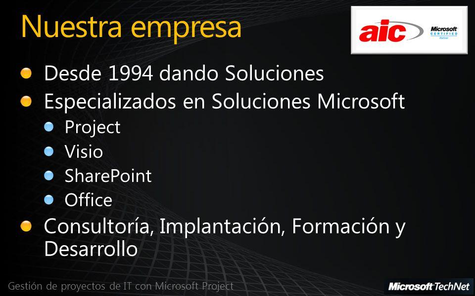 Agenda Gestión de proyectos de IT con Microsoft Project