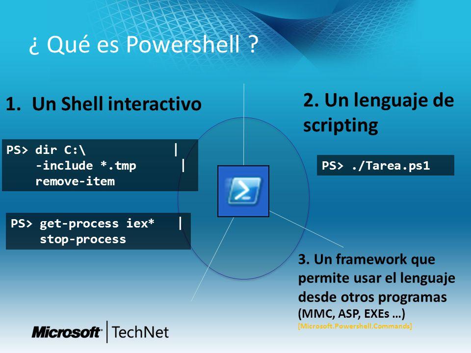 ¿ Qué es Powershell .PS> dir C:\ | -include *.tmp | remove-item PS>./Tarea.ps1 3.