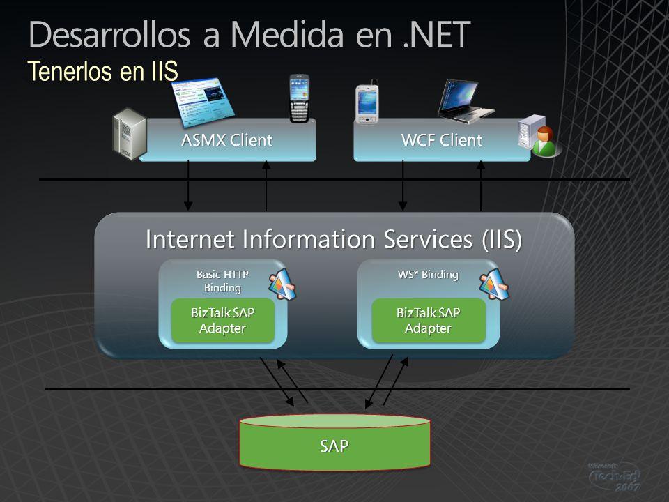 Desarrollos a Medida en.NET Tenerlos en IIS Internet Information Services (IIS) ASMX Client SAPSAP Basic HTTP Binding BizTalk SAP Adapter WS* Binding