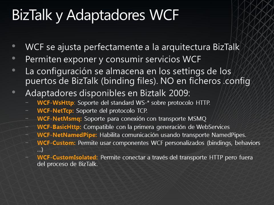 BizTalk y Adaptadores WCF WCF se ajusta perfectamente a la arquitectura BizTalk Permiten exponer y consumir servicios WCF La configuración se almacena