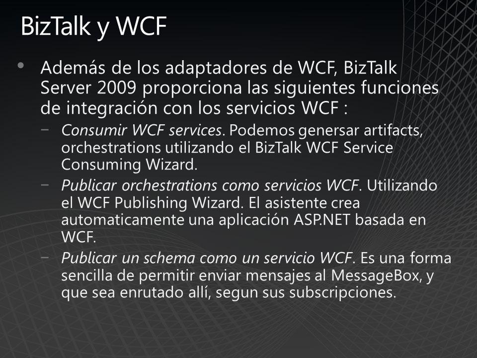BizTalk y WCF Además de los adaptadores de WCF, BizTalk Server 2009 proporciona las siguientes funciones de integración con los servicios WCF : Consum