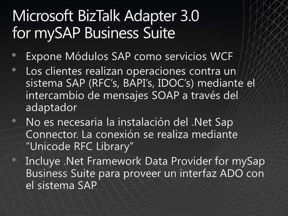 Microsoft BizTalk Adapter 3.0 for mySAP Business Suite Expone Módulos SAP como servicios WCF Los clientes realizan operaciones contra un sistema SAP (