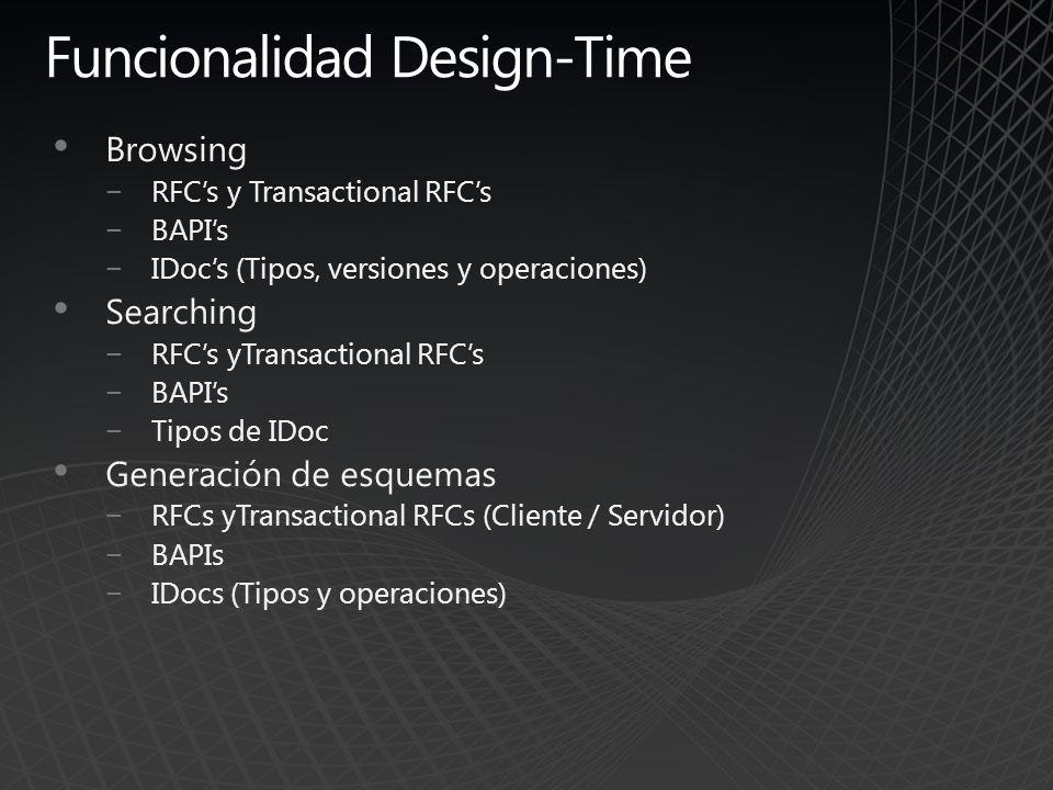 Funcionalidad Design-Time Browsing RFCs y Transactional RFCs BAPIs IDocs (Tipos, versiones y operaciones) Searching RFCs yTransactional RFCs BAPIs Tip