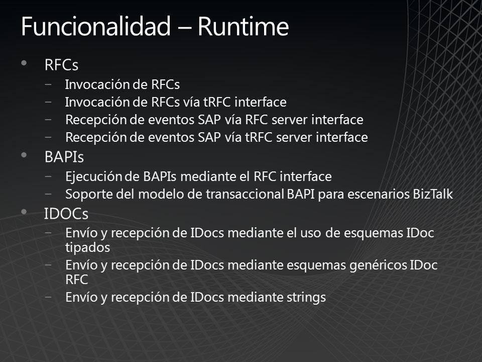 Funcionalidad – Runtime RFCs Invocación de RFCs Invocación de RFCs vía tRFC interface Recepción de eventos SAP vía RFC server interface Recepción de e