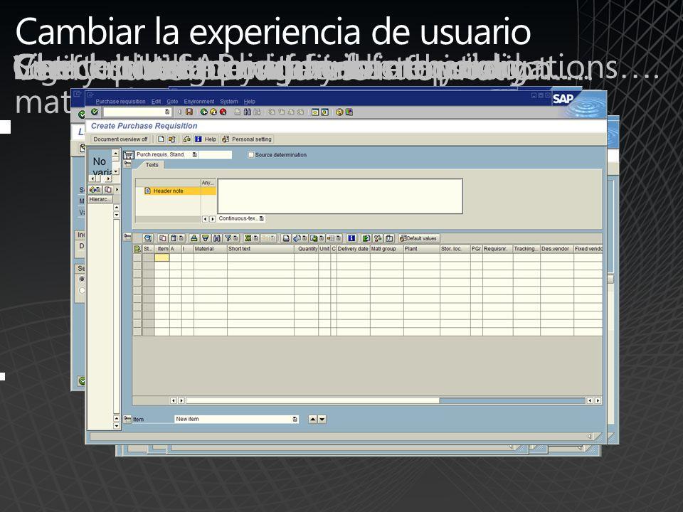 Microsoft Office SharePoint Server – Proporcionando una rica experiencia de usuario Utilizando el Adaptador de SAP de BizTalk Server Capturar páginas HTML remotas utilizando Page Viewer Web Part Consumir de forma remota, contenido HTMLSAP portal vía el iView Webpart Recoger datos registrados en SAP con BizTalk Obtener un bloque de HTML vía el consumo de WSRP Buscar y descubrir contenido indexado, desde varios orígenes de datos, incluido SAP Entregar e Interactuar con datos XML a través BizTalk Incluir Web Part de terceras partes Procesar datos recibidos vía RSS feed Mostrar datos de business intelligence BAM de BizTalk Mostrar datos de business intelligence BAM de BizTalk Procesar contenido y datos locales Entregar datos vía una plataforma neutral de Servicios Web (SOAP) BizTalk Adapters Entregar datos vía una plataforma neutral de Servicios Web (SOAP) BizTalk Adapters