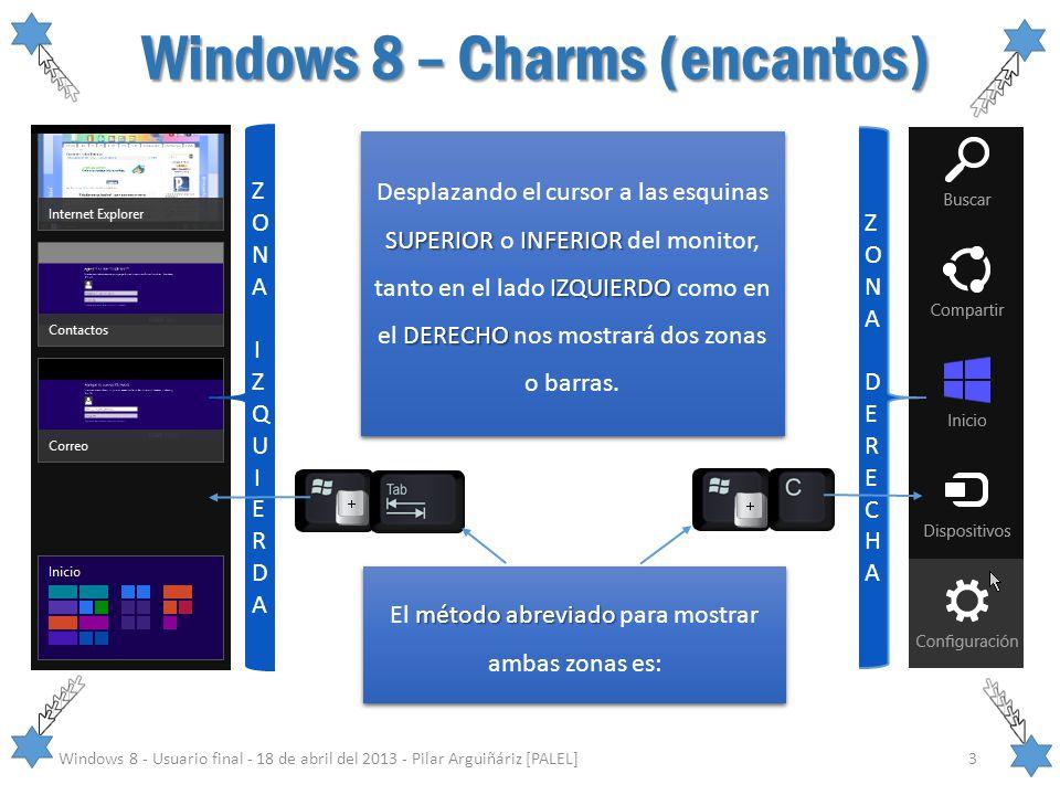 Windows 8 – Charms (encantos) Windows 8 - Usuario final - 18 de abril del 2013 - Pilar Arguiñáriz [PALEL]3 ZONA IZQUIERDAZONA IZQUIERDA ZONA DERECHAZO